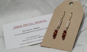 hand-made chain and carnelian earrings