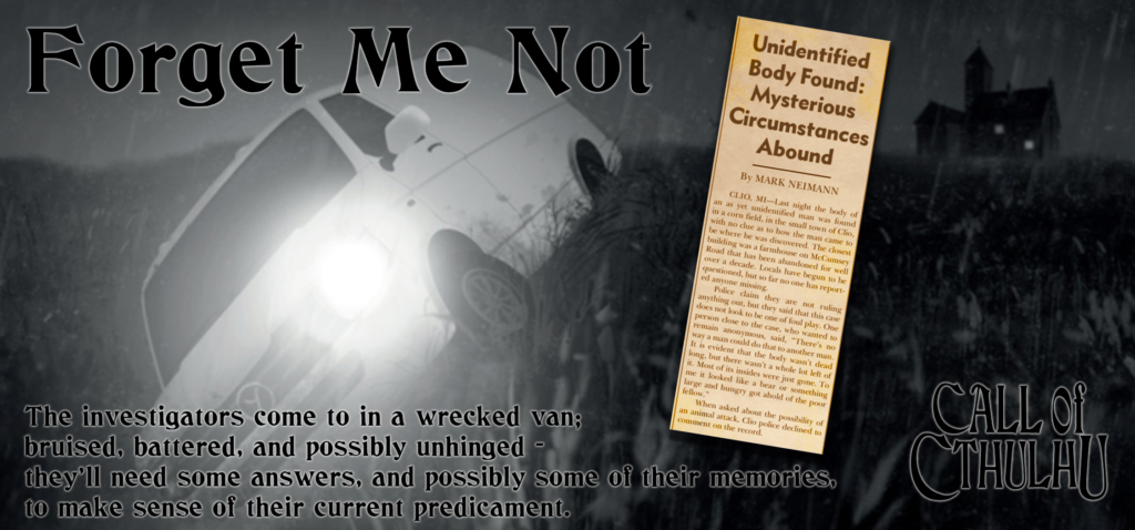 Banner for Call of Cthulhu Forget Me Not