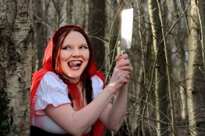 Little Red Riding Hood has a surprise butcher knife!