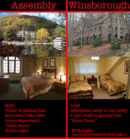 A graphical depiction of the differences between the Assembly Inn and the Winsborough Lodge at Montreat Conference Center for Scarefest.